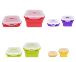 Wholesale eco styling gel - Environmental Protection Silicone Lunch Boxes Silica Gel Foldable Dinner Bucket Easy Carry Crisper Fruits Vegetables High Quality 14 5jr