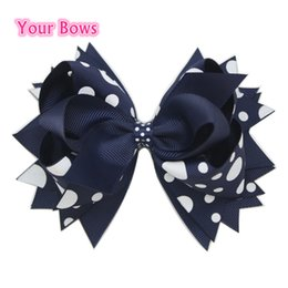 Wholesale Navy Baby Hair - Wholesale- 1PC 5.5Inch Navy Big Polka Dots Children Baby Girls Hair Bows Stacked Boutique Bows With 6cm Hair Clips Polyester Girls Hairpins