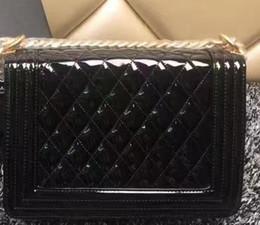 Wholesale Vintage Patent Leather Bags - High Quality Women's Plaid handbag vintage Plaid chain bag Patent leather women's handbag bag