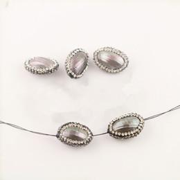 Gros 10pcs Charm Brown Shell Perles, avec Cristal Strass Pavé Shell Connector Perles Pour La Fabrication de Bijoux ? partir de fabricateur