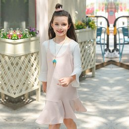 Wholesale Korean Outfit Dress - Everweekend Big Girls Bell Sleeve Tees with Ruffles Halter Dress 2pcs Sets Princess Korean Fashion Autumn Party Outfits