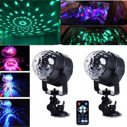 Wholesale Car Led Lights Wholesale Usa - 2pcs lot Mini 3x LED Party Light DJ Crystal Magic Rotating Ball USB Powered Car Mounted Sucker Stand Remote Control Effect Stage Lighting
