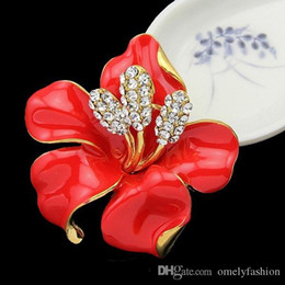 Wholesale Large Clear Rhinestone Brooch Pin - New Design Clear Crystal UK Poppy Flower Brooches Pins Large Size Brooches Bouquet Wedding 6 Colors