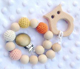 Wholesale Crochet Nursing Toys Wholesale - Wood Teether Toys Baby Baby Pacifier Clip Chain Dummy Holder Clip Soother Chain Nipple Holder Natural Wooden Crochet Beads Nursing Gifts