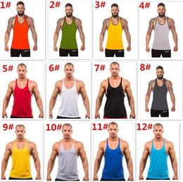 homens do exército Desconto 100 PCS 12 cores de Algodão Stringer Musculação Equipamento de Fitness Ginásio Top de camisa Sólida Singlet Y Volta Esporte roupas colete