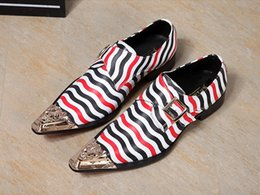 Wholesale Italian Style Coffee - Top Quality Italian Style Men's Dress Leather Shoes Metal Pointed Toe Wedding Party Oxford Shoes for Men Coffee Zapatos Hombre