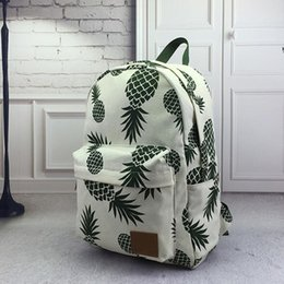 Wholesale Cotton Fabric For Boys Cute - free shpping Women Canvas Backpack For Teenagers Girls Boys School Bag Student Cute Pineapple Printing Backpack Book Bags Travel Big Mochila