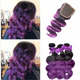 8A cierre de encaje púrpura de Malasia Ombre con paquetes de dos tonos # 1b pelo humano púrpura con cierre de paquetes púrpura oscuros paquetes de raíces desde fabricantes