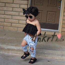 Wholesale Childrens Clothes Sales - Hot sale Girls Baby Clothing Fashion Jeans Summer Fashion Stretch washed Toddler Ripped Jeans hole Baggy Kids Trouser Childrens Pants A406