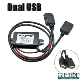 Wholesale power install - Wholesale- DC-DC Car Converter Module 12V To 5V Double USB Charger Adapter Mini USB Micro Connector Power Output W  Mounting Install Hole