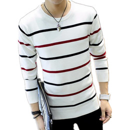 Wholesale Cheap Striped Sweaters - Wholesale- TG6126 Cheap wholesale 2016 newRound collar stripe color matching sweater man fertilizer plus-size knit sweaters