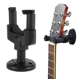 Wholesale Electro Guitar - Wholesale- New Black Electro Guitar Wall Strap Holder Stand Rack Hook for Mounting All Size Accessories Sets