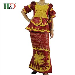 Wholesale Drape Puff Sleeve - (Free shipping)African bazin riche dress traditional embroidery bazin 100% cotton short-sleeved jacquard fabric production M701