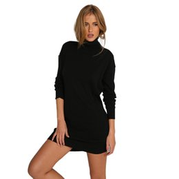 Wholesale Tight Black Turtleneck - 2017 Women Bodycon Sexy Club Mini Dress Winter Autumn Sheath Turtleneck Dress Party Tight Black Dresses Vestidos Plus Size