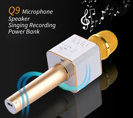 Wholesale Stereo Cell Phone Speaker - New Q9 mini Portable Wireless Bluetooth Karaoke Microphone Handheld Speaker Home KTV Stereo Player For Iphone Sumsang IOS android smartphone