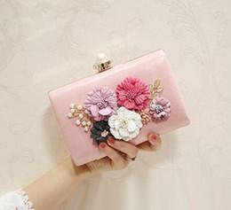 Wholesale Exclusive Handbags - sales handbag factory Exclusive custom 3 d flower woman hand bag fashion set auger dinner packages High quality leather hand bag bride