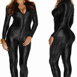 Wholesale Leotards For Clubwear - Wholesale- 2016 Women Nightclubs Black Leather Sexy Body Suits for Pole Dancing Clothes Leotard Snakeskin Pattern Bodysuit Catsuit Clubwear