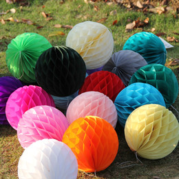 Wholesale honeycomb paper decorations - Decorative Paper Balls Party Decorations Paper Honeycomb Ball Lantern Party Decor Craft Wedding Event Party Supplies 15cm IC729