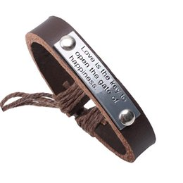 Wholesale Gate Bracelets - Fashion Leather Bracelet Love is the key to open the gate of happiness Leather Bracelets Black Brown