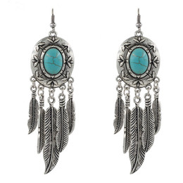 Wholesale Red Dangler - New Earrings Vintage Retro Exaggerated Turquoise Feathers Long Tassel Earrings Bohemian Earrings Sapphire Charm Dangler Fashion Eardrop A67