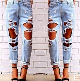 Wholesale Denim Jumpsuits For Women - Ripped Jeans Denim Joggers Knee Holes Slim Fit Jeans For Women Blue Rock Star Womens Jumpsuit Destroyed Jeans Boyfriend Pencil Pants