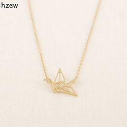 Wholesale Gold Couple Necklaces - Wholesale- hzew Min 1pc Gold Silver Plated Origami Crane Necklaces for Women Cute Bird Chain Necklaces 2015 Simple Couple Necklaces