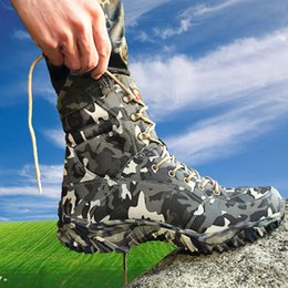 Wholesale Open Toe Red Boots - 2016 new sale combat boots with grey camouflage men boots waterproof breathable bots Men Military Tactical Boots
