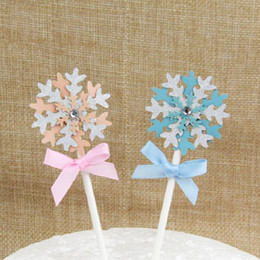 Wholesale Baby Toppers - cake toppers paper banner glitter snowflake romantic for Cupcake Wrapper Baking Cup birthday tea party decoration baby shower