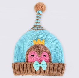 Wholesale Wholesale Minnie Crochet Hat - New autumn winter baby hats Christmas caps pom Minnie warm curling pointy penguin knit wool Crochet hats free shipping