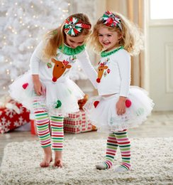 Wholesale Tutu Christmas Piece - New Baby Girls Christmas Costume Wholesale suit Reindeer ruffle Top LaceTutu Tulle Skirt Striped Rainbow Pants Outfits Set 1-5Y Kid clothing