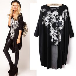 Wholesale Stitching Designs Shirts - Wholesale- Fashion Women's Skull Dovetail T-shirt Mesh Back Cross Stitching Long Section Woman Clothes Large yard with design sense
