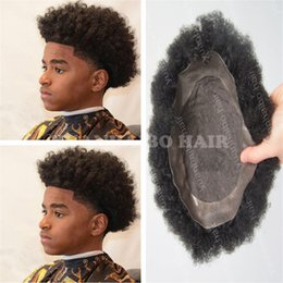 Wholesale high quality virgin brazilian hair - High Quality Black Color 100 Virgin Brazilian Human Hair Toupee Lace with PU Men Toupee Free Shipping