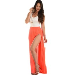 Wholesale Sexy Red Dress Tank Top - 2016 Summer Sexy Long Solid Color Dresses Sleeveless White Tank Top Red Veils Women Maxi Dress Vestidos