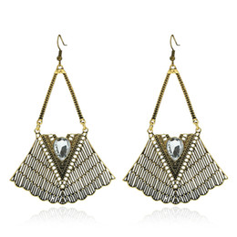 Wholesale Gem Exaggerated Earrings - fashion retro exaggerated national air hollow geometric water drops gem large earrings