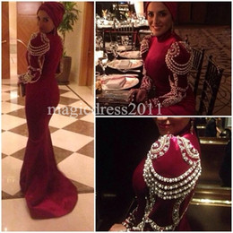 Wholesale Wine Pearls - 2017 Wine Red Middle Evening Prom Dresses East Formal Gowns High Neck Long Sleeves Beading Pearls Arabic Dubai Kaftan Abaya Celebrity Dress