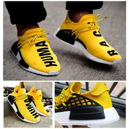 Wholesale Highest Human - 2017 Hot Sell NMD HUMAN RACE Runner Classic Mesh Yellow Men Women High Quality Running Shoes Sneakers Originals NMD Runner sports shoes