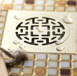 """Wholesale Brass Drain Strainer - Gold Finish Solid Brass Square 4"""" Bathroom Floor Drain Shower Drainer Waste With Single-function Complicated Drain Cover"""