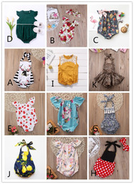Wholesale Toddler Girls Christmas Outfits - Newborn Baby Rompers Kids Clothing Toddler Outfit 12 Style BABY Onesies Girl Leotards Floral Jumpsuit Children Boutique Bodysuit Clothes