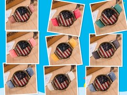 Wholesale Usa Leather Wrist - wholesale Fashion Quartz USA National Flag Watch Leather Clock unisex Watches Casual Lady Wristwatches Sports Wrist 9color free shipping