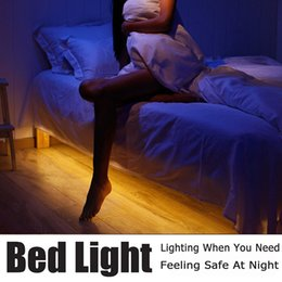 Wholesale Sensor Lighting Bedroom - Motion Activated Bed Light Flexible LED Strip Sensor Night Light Illumination with Automatic Shut Off Timer Sensor for bedroom