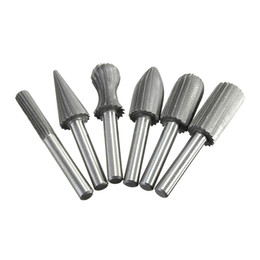 "Wholesale Dremel Speed - 6pcs set Carbide Cutter Rotary Burr Set CNC Engraving Bit Rotary File Bur Burr Grinding Shank 6mm 1 4"" For Dremel Rotary Tools"