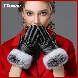 Wholesale Ladies Rabbit Fur Tops - Wholesale- 2017 Top Quality Luxury Fashion Desgin Beautiful Winter Big Rabbit Fur Wrist Ladies Imitation Leather Gloves Synthetic Leather