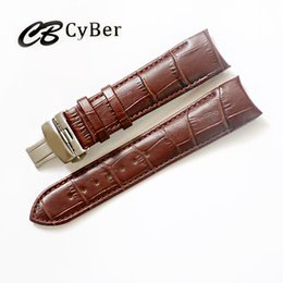 Wholesale Watch Push Button Clasp - Cbcyber man watch bands 18-24mm Men Watch Strap Butterfly Pattern Deployant Clasp Buckle+Leather Correas de reloj