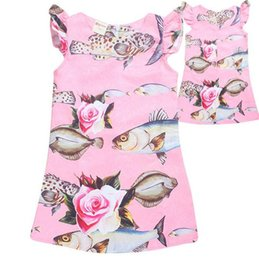 Wholesale Fly Fishing Boats - 2017 Girls Childrens Dresses Fly Sleeve Princess Dress for Girl Clothing Cartoon Fish Girl Kids Printed Dresses Enfant Boutique Clothes