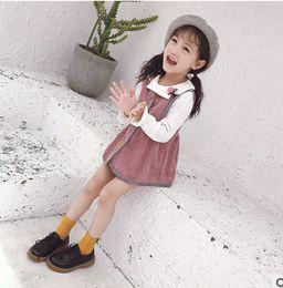 Wholesale Corduroy Shirt Dresses - Kids princess sets fashion girls lapel falbala T-shirt+single breasted corduroy vest dress 2pc sets children autumn clothes T0260