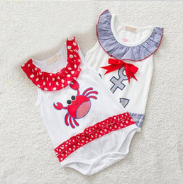 Wholesale Sailor Baby Girl - Baby Romper Cartoon Jumpsuits Baby Girls Boys Sailor Anchor Crab Pattern Romper Infant Clothing 4 p l