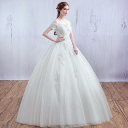 Wholesale Korean Sexy Photos - Boat Neck Short Sleeve Korean Lace Up Ball Gown Wedding Dresses 2017 Plus Size Bridal Dress Princess Wedding Gown Real Photo