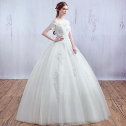 Wholesale Korean Princess Photo - Boat Neck Short Sleeve Korean Lace Up Ball Gown Wedding Dresses 2017 Plus Size Bridal Dress Princess Wedding Gown Real Photo