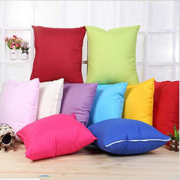 Wholesale home decor pillow covers - 45 * 45CM Home Sofa Throw Pillowcase Pure Color Polyester White Pillow Cover Cushion Cover Decor Pillow Case Blank christmas Decor Gift
