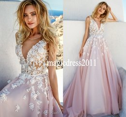 embellish wedding dress Promo Codes - Bridal Sleeves Deep V-Neck Heavily Embellished Bodice Romantic Pretty Pink A-Line wedding-dress-keyhole-back-royal-tra